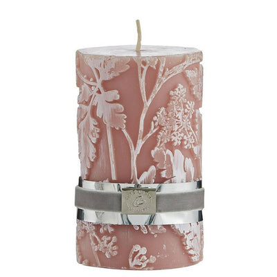 Mist Rose Floral Etched Candle
