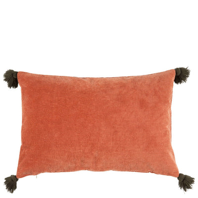 Deep Burnt Orange Velvet Tassel Cushion