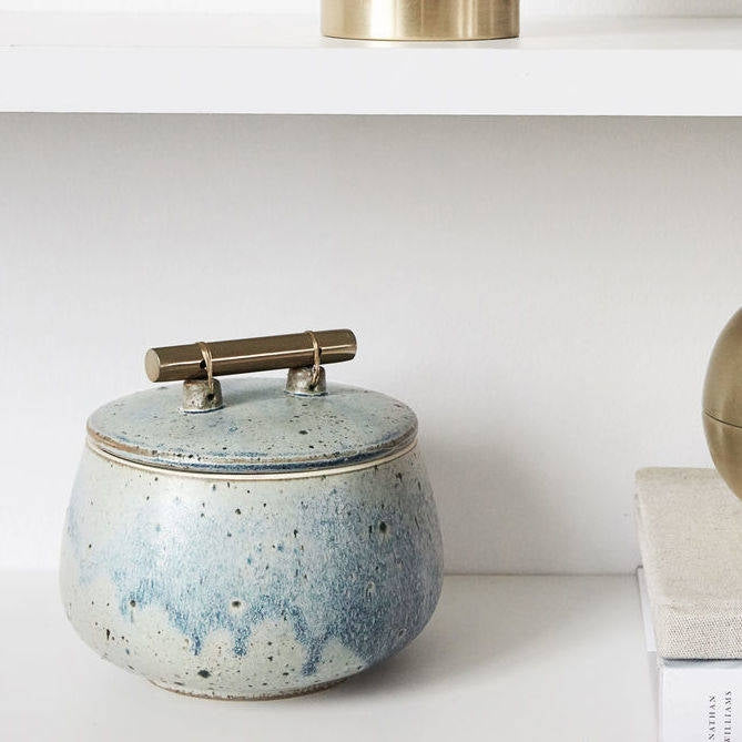 Glazed Stoneware Pot With Cool Brass Handle