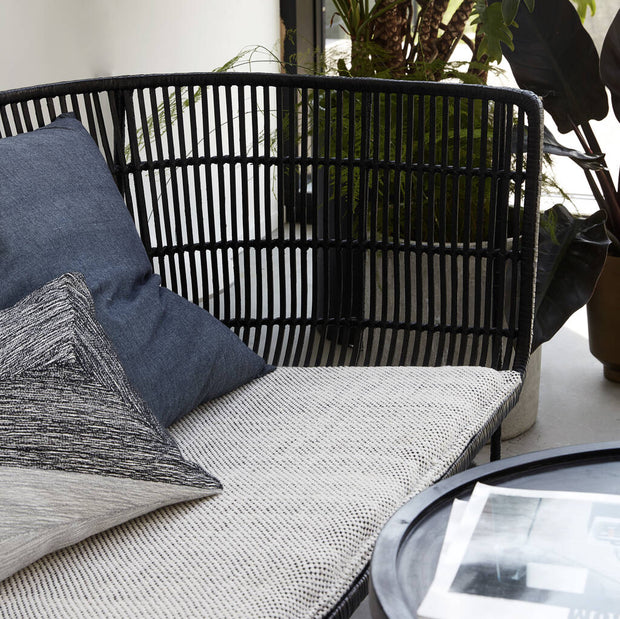Black Rattan Contemporary Sofa