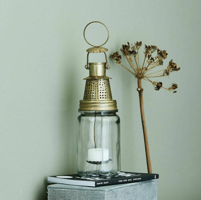 Decorative Antiqued Silver Lantern