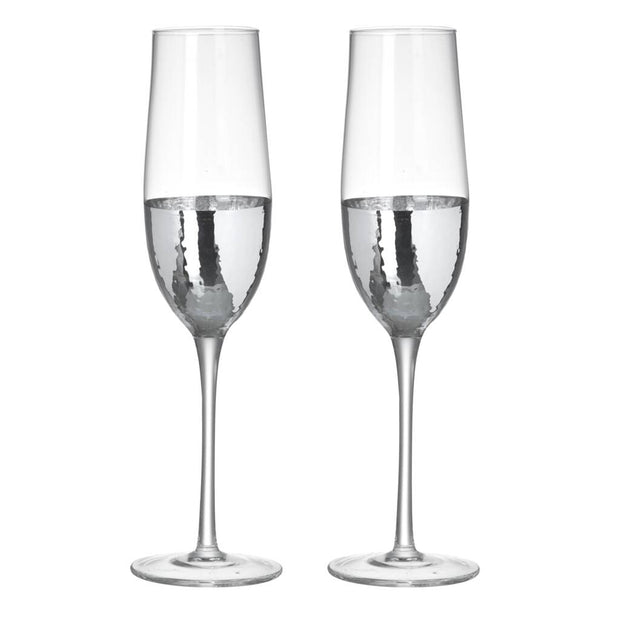 Pair Of Dipped Silver Cocktail Glasses