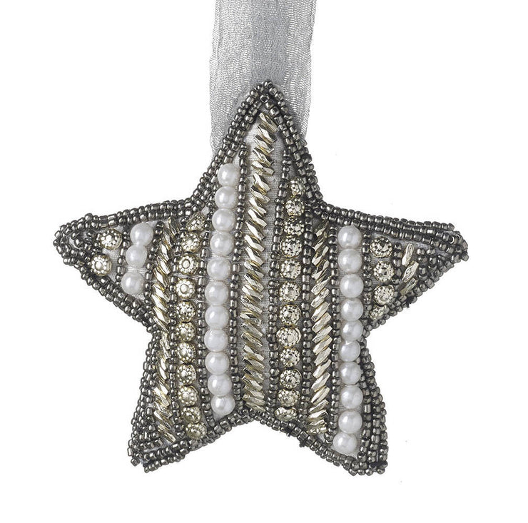 Embroidered Jewelled Star Tree Decoration