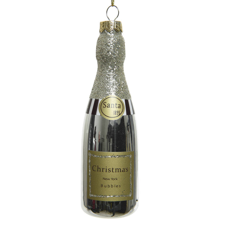 Glass Champagne Bottle Christmas Decoration