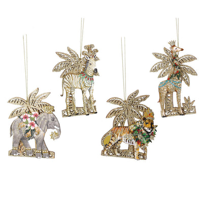 Gold Glitter Palm Exotic Christmas Decorations
