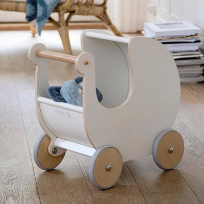 Sebra White Wooden Dolls Pram