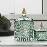 Granite Green & Pale Gold Glass Jar - PRE ORDER
