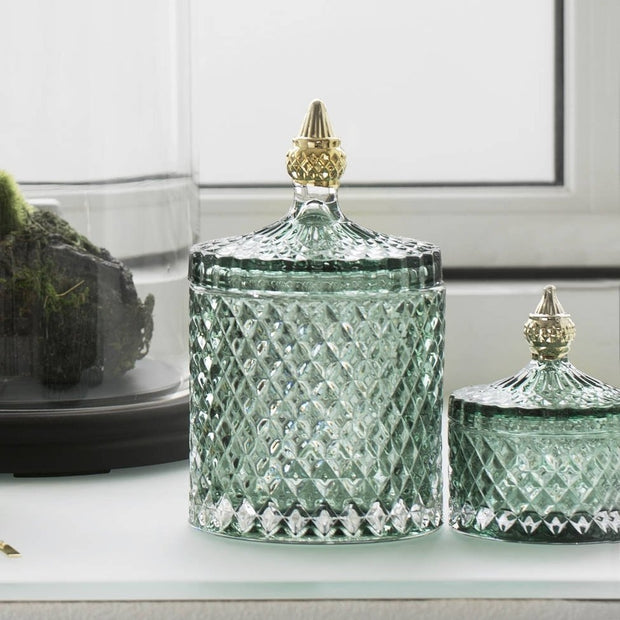 Granite Green & Pale Gold Glass Jar
