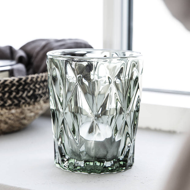 Trio Of Green Faceted Glass Tealight Holders
