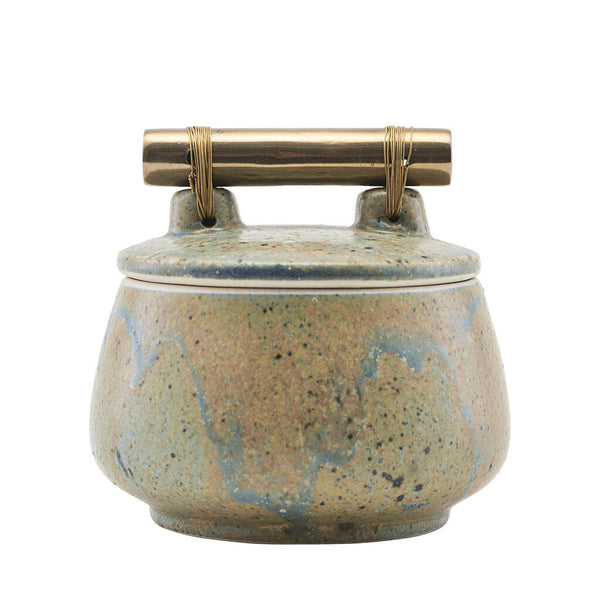 Green Stoneware Pot With Cool Brass Handle