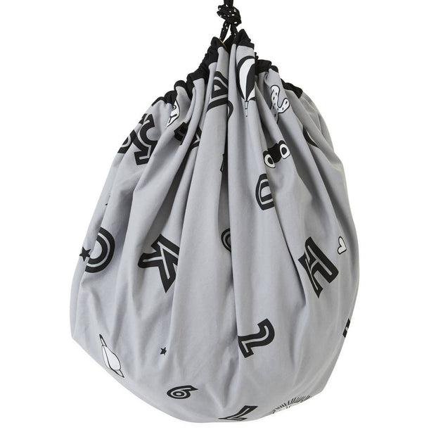Grey Alphabet Cotton Storage Sack