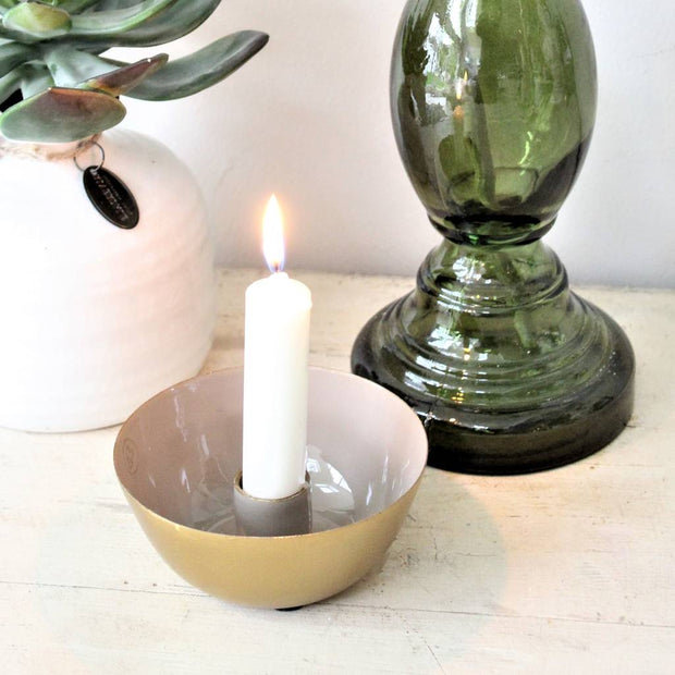 Grey And Gold Nara Candlestick Holder