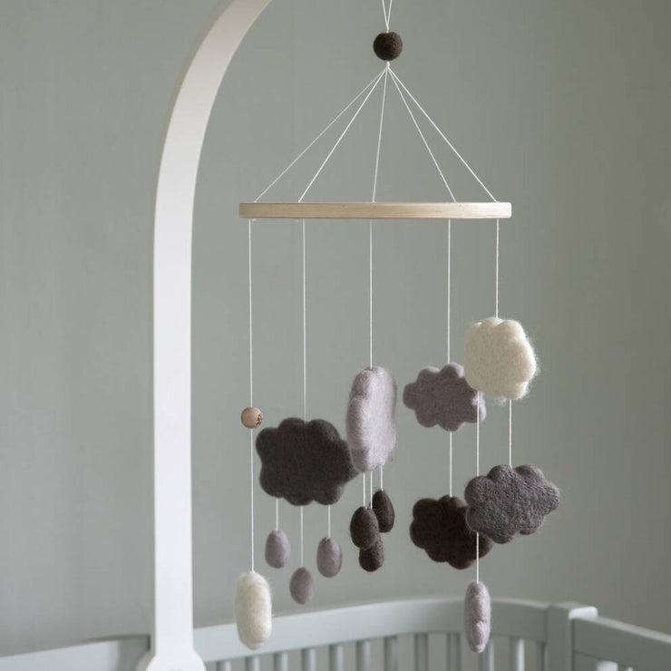 Handmade Grey Clouds Felted Mobile