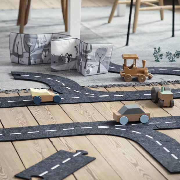 Felt Race Track With Wooden Car