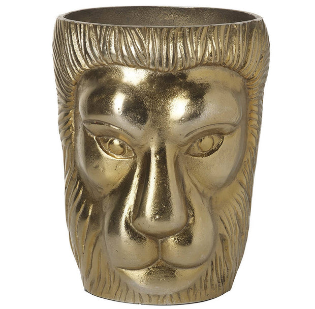 Large Gold Lion Head Planter