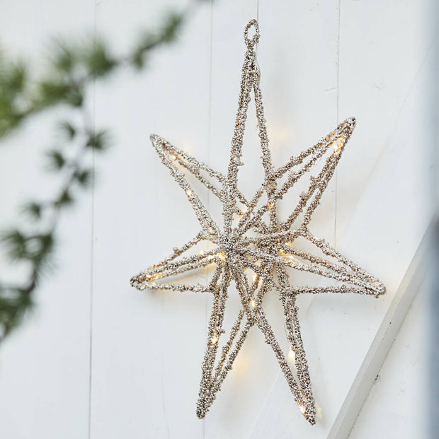 Gold LED Beaded Star Window Decoration