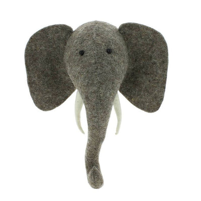 Mini Elephant Felt Wall Head
