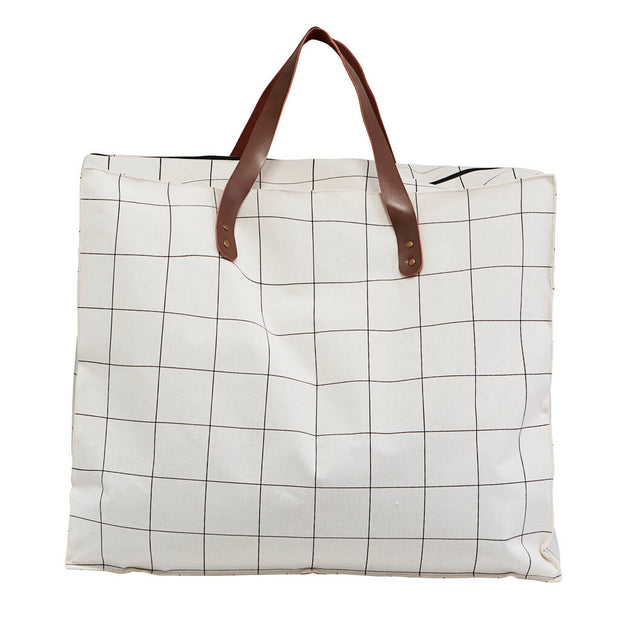 Cream Check Fabric Storage Bag