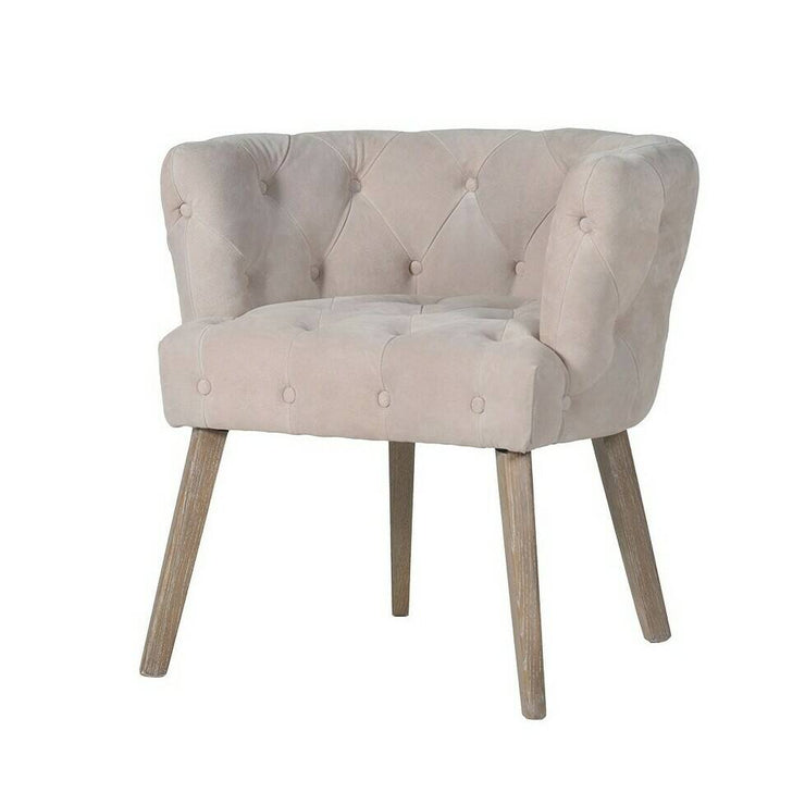 Nude Suede Button Back Chair