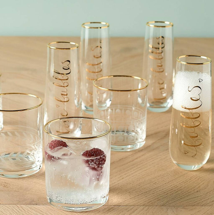 Set of 4' Love Bubbles' Stemless Glasses