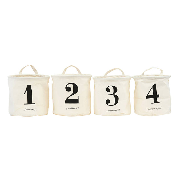 Set Of Four Numbered Storage Baskets