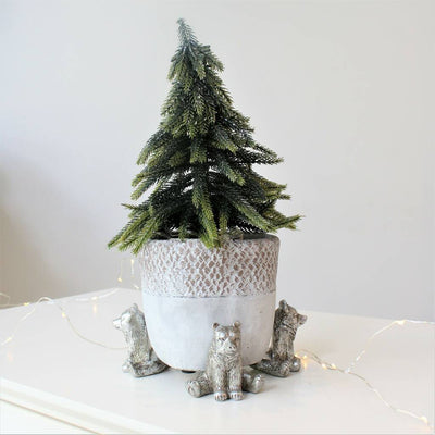 Trio of Silver Bear Pot Risers
