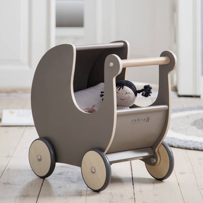 Sebra Warm Grey Wooden Dolls Pram