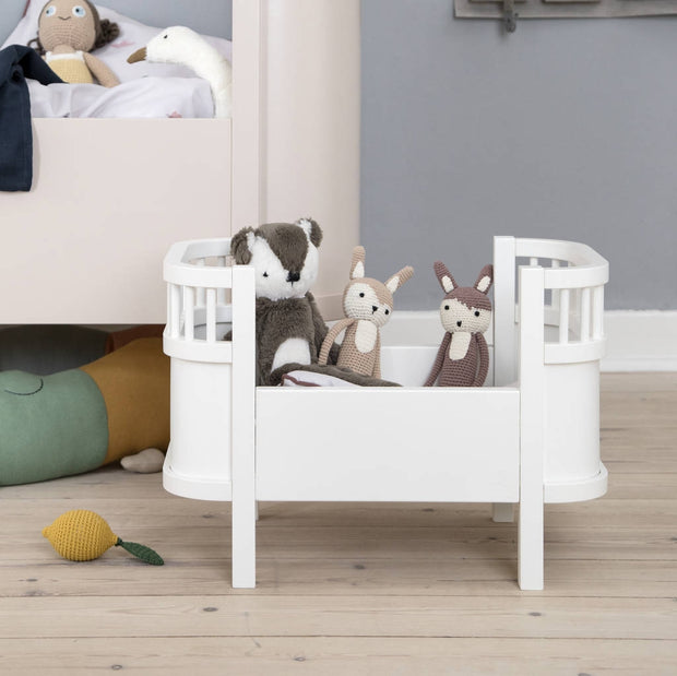 White Wooden Dolls Cot Bed with Mattress