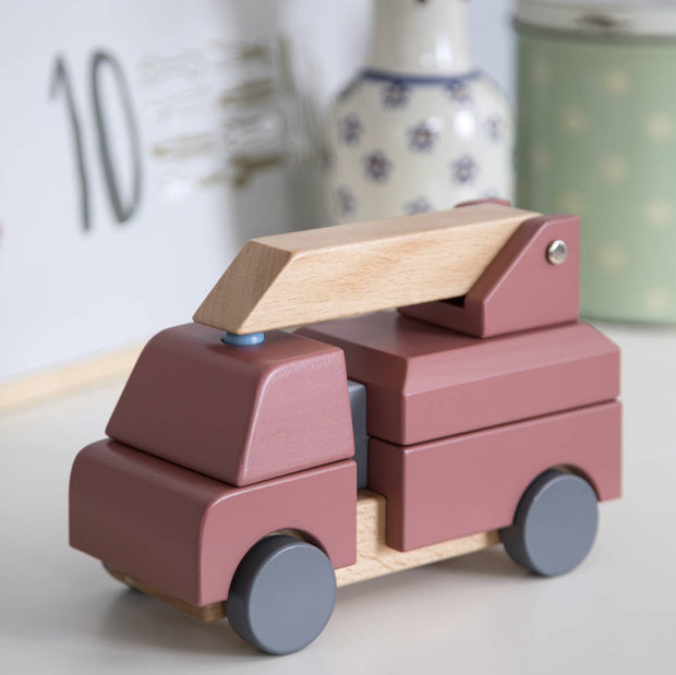 Wooden Fire Truck Stacking Toy