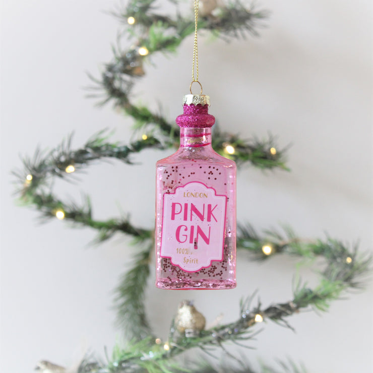 Pink Glittery Gin Bottle Christmas Decoration