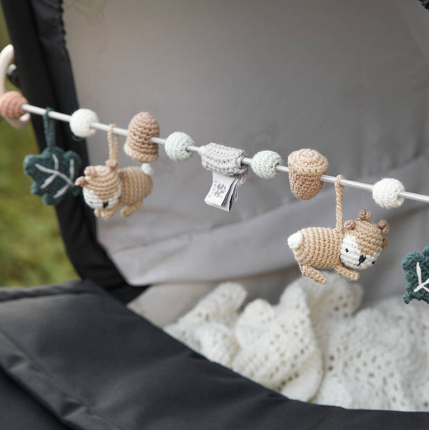 Handmade Crocheted Woodland Pram Toy