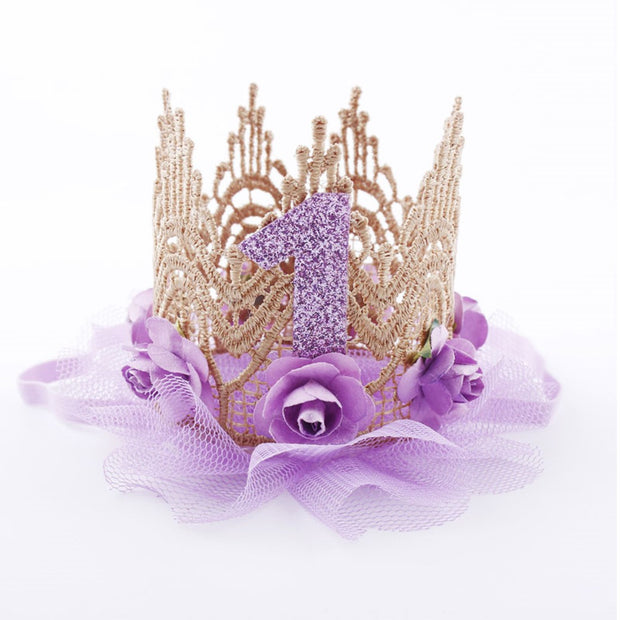 Rose And Tulle Purple First Birthday Crown