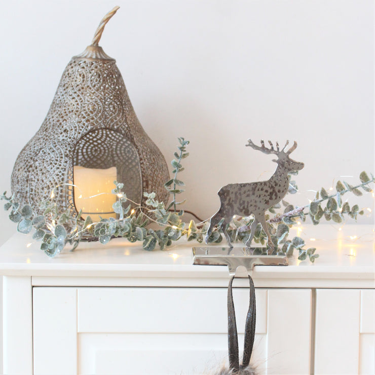 Silver Reindeer Metal Stocking Holder