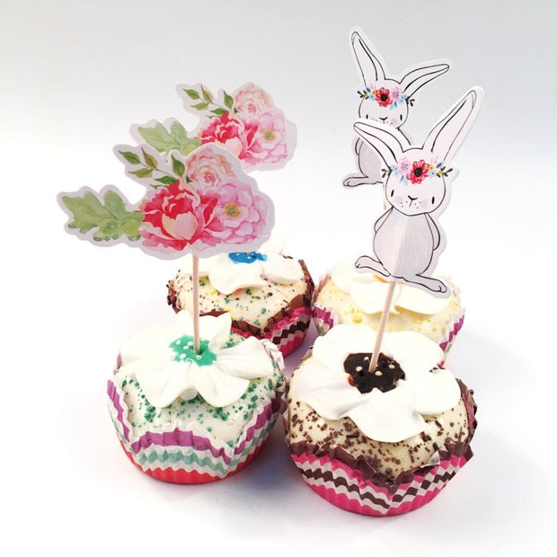 Pack of 12 Easter Rabbit And Flower Cake Toppers