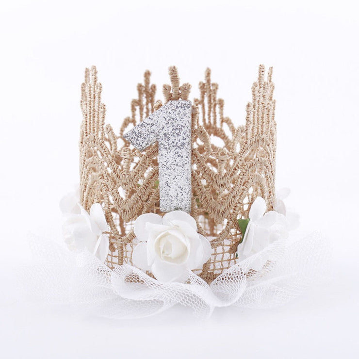 Rose And Tulle Silver First Birthday Crown