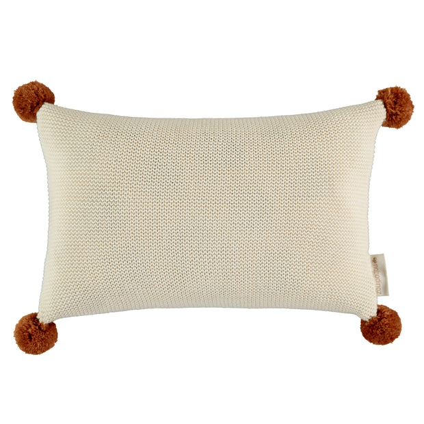 Natural Knitted Pom Pom Cushion