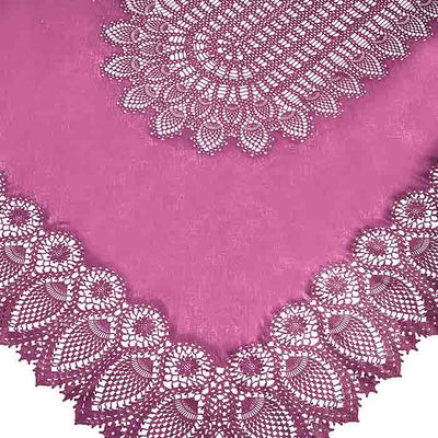 Tuscany Crochet Lace Vinyl Tablecloth / Cranberry