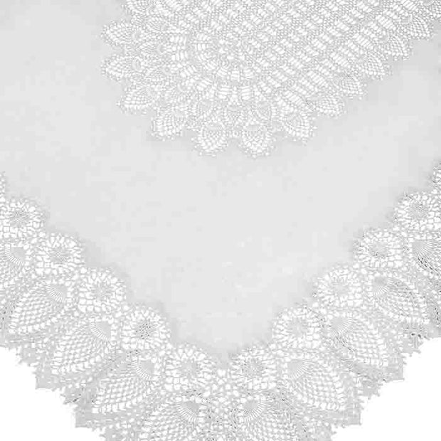 Tuscany Bistro Lace Vinyl Tablecloth / White