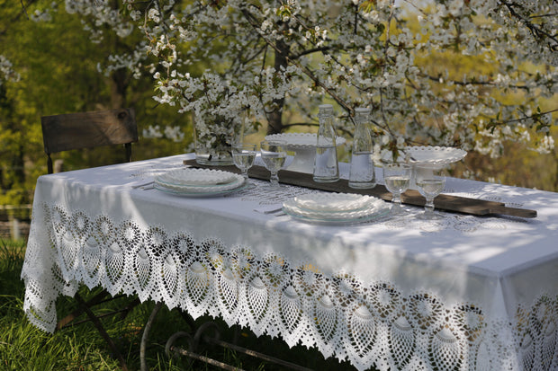 Tuscany Crochet Lace Vinyl Tablecloth / Cream PRE-ORDER