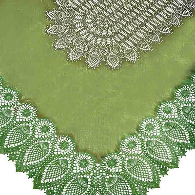 Tuscany Crochet Lace Vinyl Tablecloth / Green PRE-ORDER