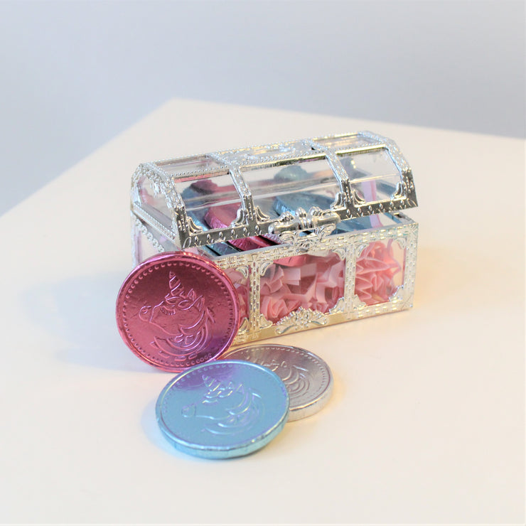 Treasure Chest With Chocolate Unicorn Coins