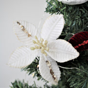 Velvet Poinsettia Clip on Flower