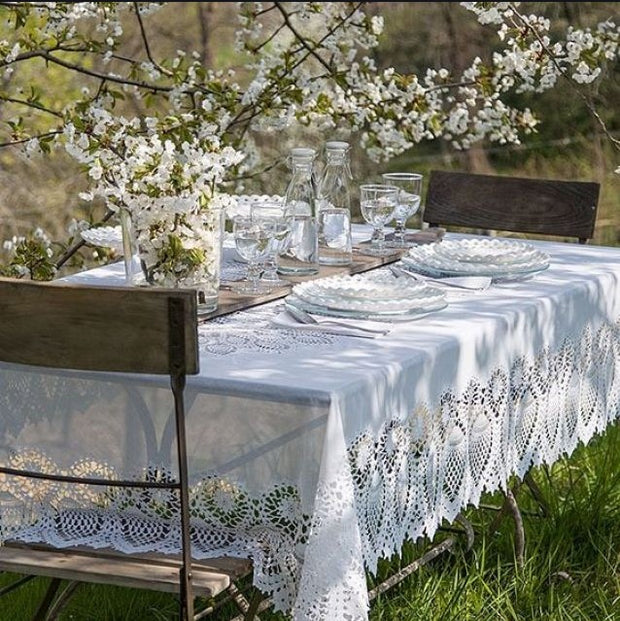 Tuscany Crochet Lace Vinyl Tablecloth / White