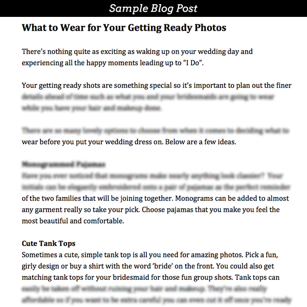 Pre-Written Blog Post Subscription for Wedding Photographers