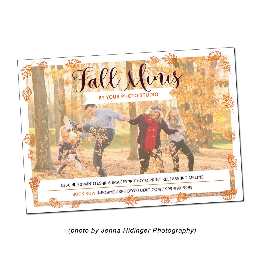 5x7 Flat Card Fall Mini Session Template