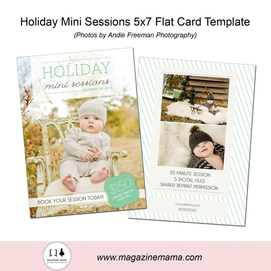 Holiday Mini Sessions 5x7 Flat Card Template