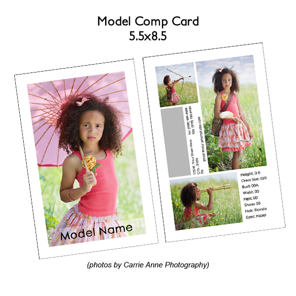 Model Comp Card Template Photoshop
