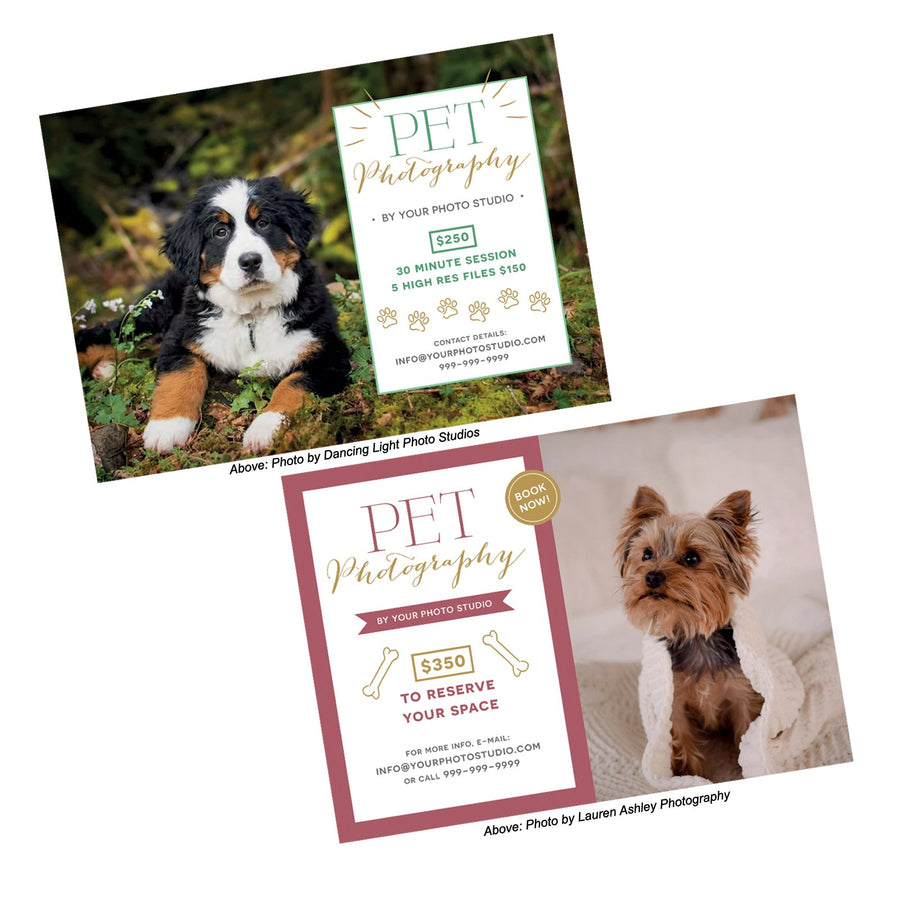 Pet or Dog Photography Marketing Templates (Set of 2)