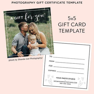 Photography Gift Certificate Template Two Sided