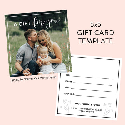 5x5 Photography Gift Certificate Template